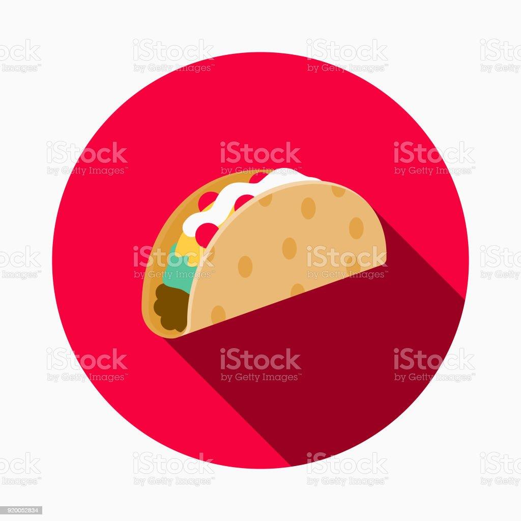 Taco plano diseño calle alimentos icono - ilustración de arte vectorial