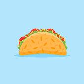 Taco flat style icon. Vector illustration.