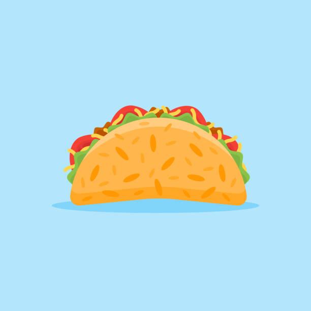 taco flat style icon. vector illustration. - taco stock illustrations, clip art, cartoons, & icons
