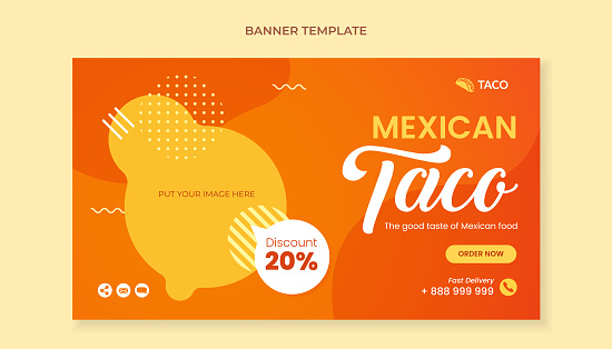 Taco food banner template for mexican food restaurant