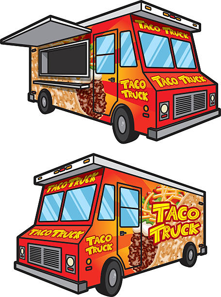 Taco Food Truck Both Sides Full Color Icons Vector Art Illustration