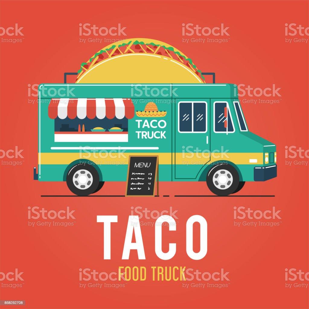 Taco Food Truck vector art illustration