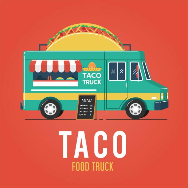 taco food truck - taco stock illustrations, clip art, cartoons, & icons