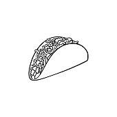 Taco hand drawn sketch icon