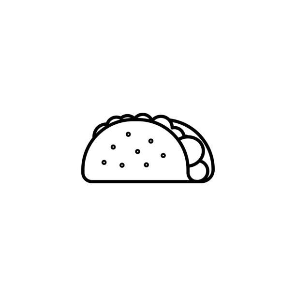 taco-symbol auf weißem hintergrund - tortillas stock-grafiken, -clipart, -cartoons und -symbole
