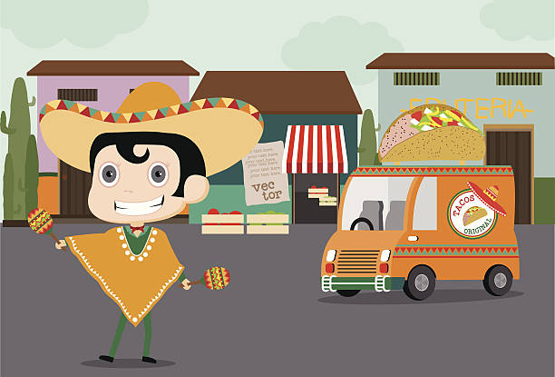 Taco man and his Truck Vector cartoon of a Mexican chef in chef uniform and sombrero on roller skates delivering food with truck mexican restaurant stock illustrations