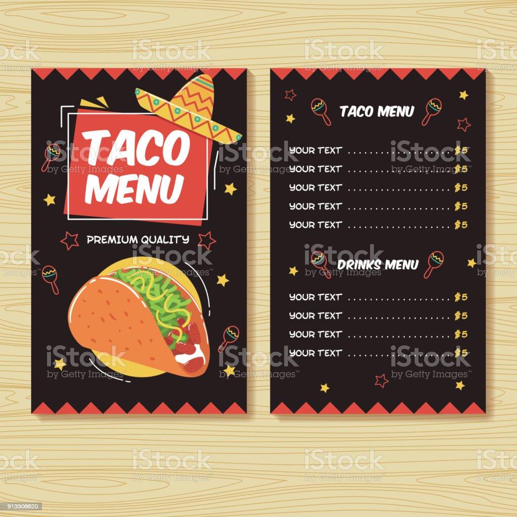 Tacomenü Mexikanisches Essen Menü Druckvorlage Stock Vektor Art und ...