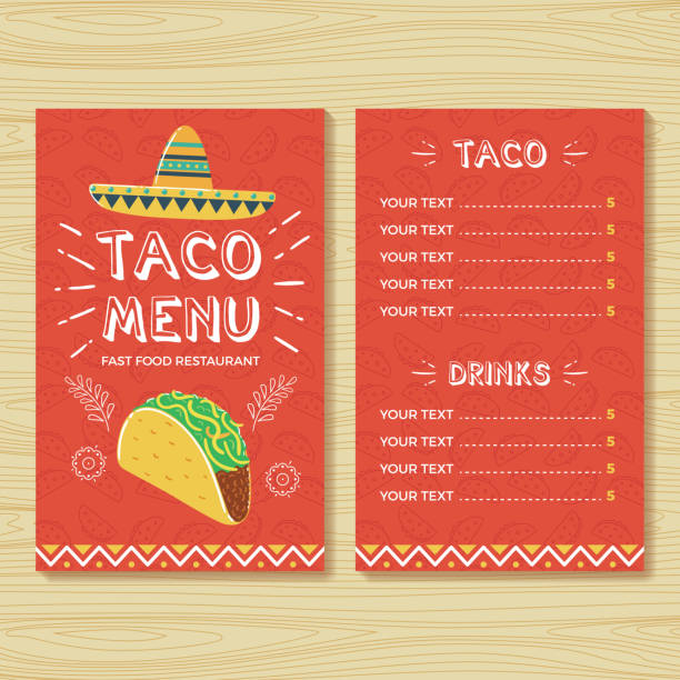 taco menu template - taco stock illustrations, clip art, cartoons, & icons