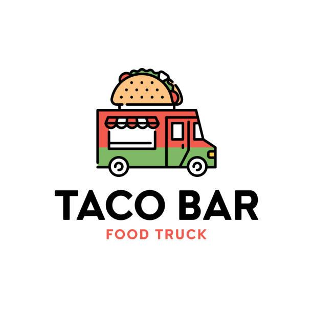 Vegan Burger Logo Collection: Taco Truck Illustrations, Royalty-Free Vector Graphics