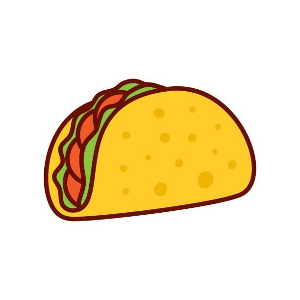 Taco mexican food Taco vector illustration in flat style. Taco mexican food. Traditional tacos isolated on white background. Taco fast food. taco stock illustrations