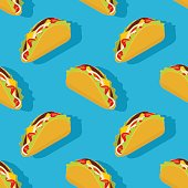 Taco seamless pattern. Traditional Mexican food background. Corn