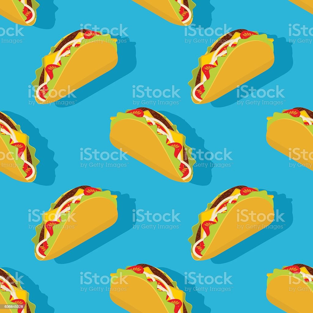 Taco seamless pattern. Traditional Mexican food background. Corn vector art illustration