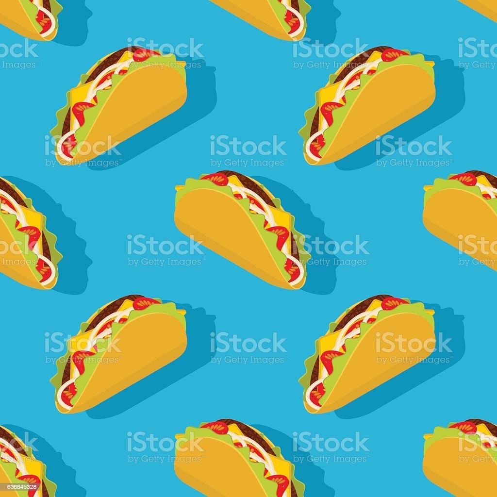 Taco seamless pattern. Traditional Mexican food background. Corn - ilustración de arte vectorial