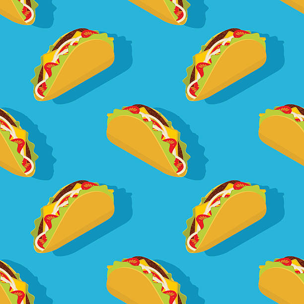 ilustraciones, imágenes clip art, dibujos animados e iconos de stock de taco seamless pattern. traditional mexican food background. corn - comida mexicana