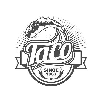 Taco Shop Badge Logo