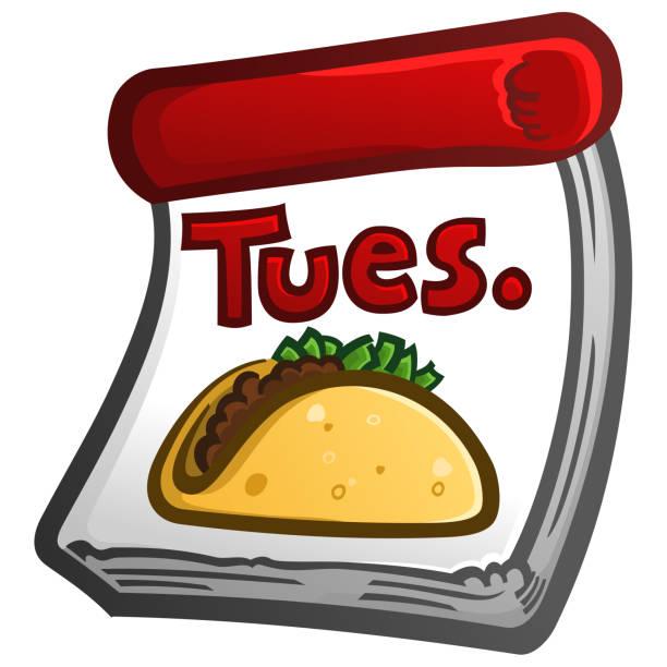 taco dienstag cartoon kalender ikone - chimichanga stock-grafiken, -clipart, -cartoons und -symbole