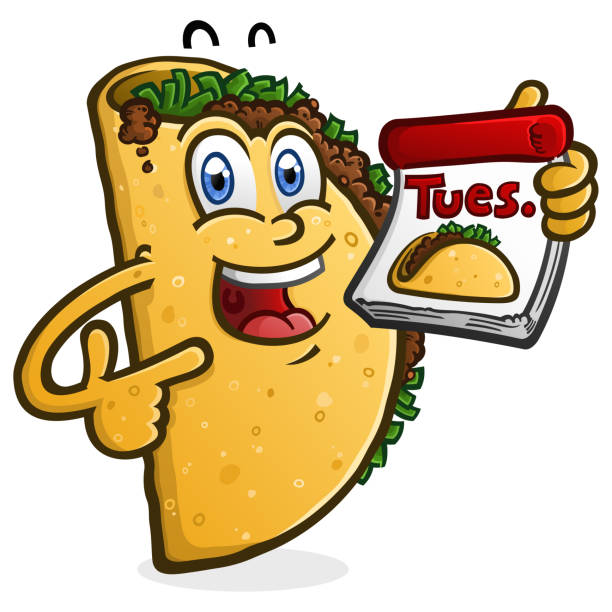 taco tuesday cartoon charakter - chimichanga stock-grafiken, -clipart, -cartoons und -symbole