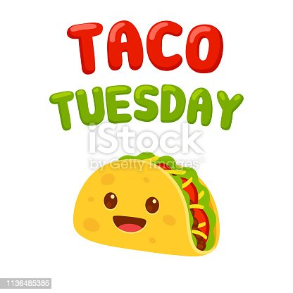 Funny cartoon taco character with text Taco Tuesday. Traditional Mexican food vector illustration.