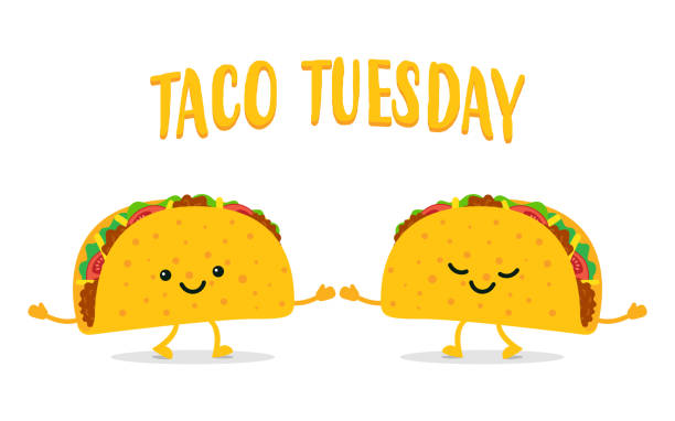taco tuesday. two funny tacos - mexican food stock illustrations, clip art, cartoons, & icons