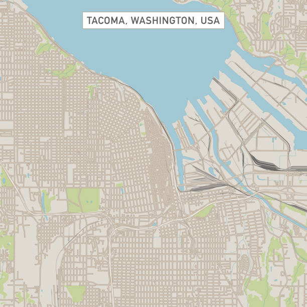 Tacoma Washington US City Street Map Vector Illustration of a City Street Map of Tacoma, Washington, USA. Scale 1:60,000. All source data is in the public domain. U.S. Geological Survey, US Topo Used Layers: USGS The National Map: National Hydrography Dataset (NHD) USGS The National Map: National Transportation Dataset (NTD) tacoma stock illustrations