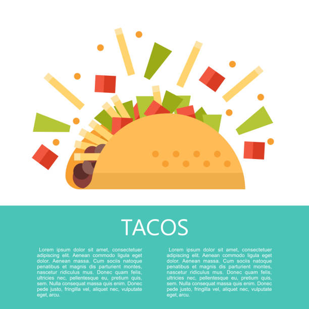 tacos. delicious mexican fast food in corn tortillas.  vector illustration. - taco stock illustrations, clip art, cartoons, & icons