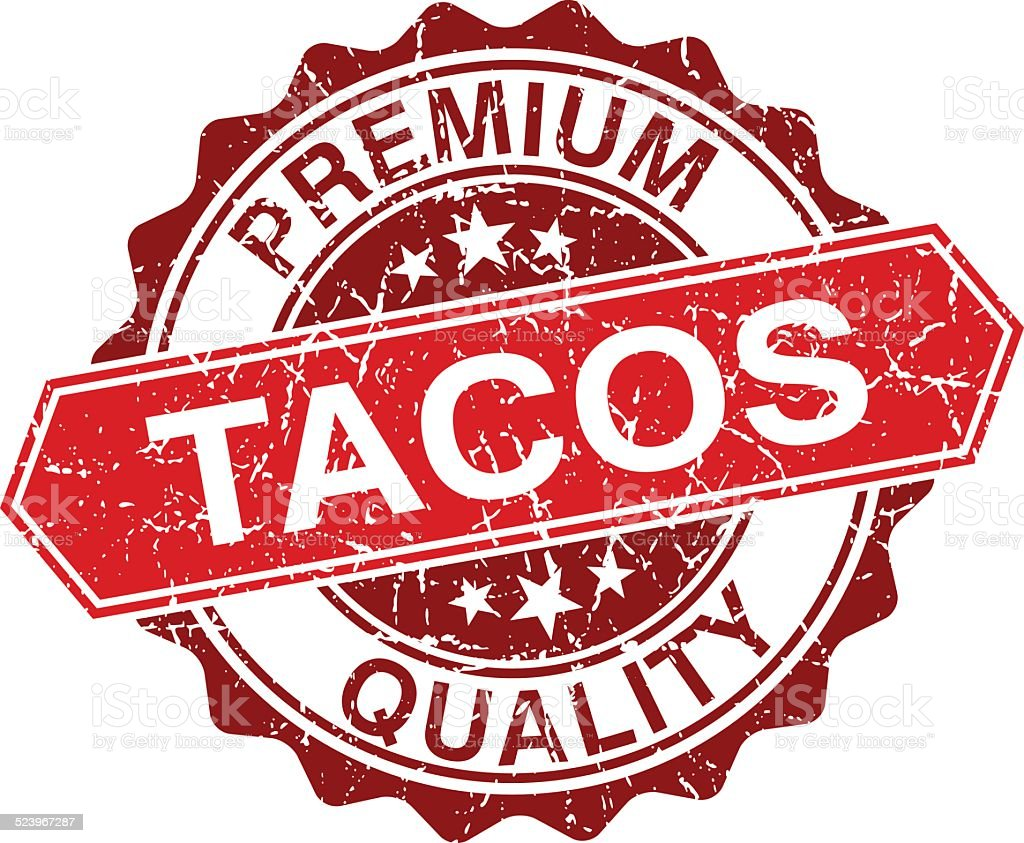 Tacos red vintage stamp isolated on white background vector art illustration