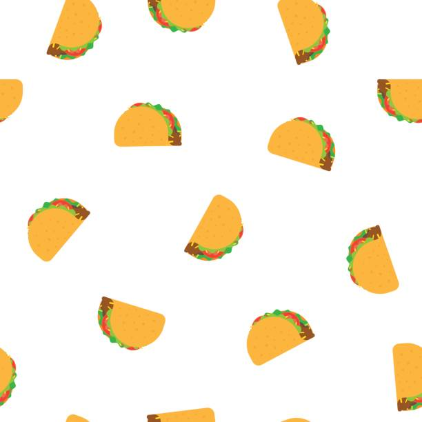 tacos seamless vector pattern - taco stock illustrations, clip art, cartoons, & icons