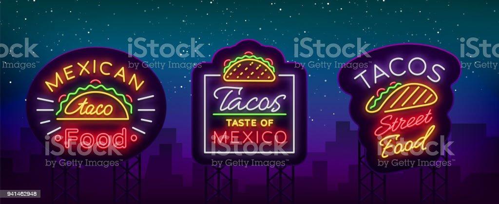 Tacos Satz Von Neonstillogos Sammlung Von Neonschilder Symbole Helle ...
