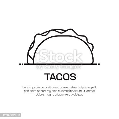 istock Tacos Vector Line Icon - Simple Thin Line Icon, Premium Quality Design Element 1294852105