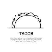 istock Tacos Vector Line Icon - Simple Thin Line Icon, Premium Quality Design Element 1294852105