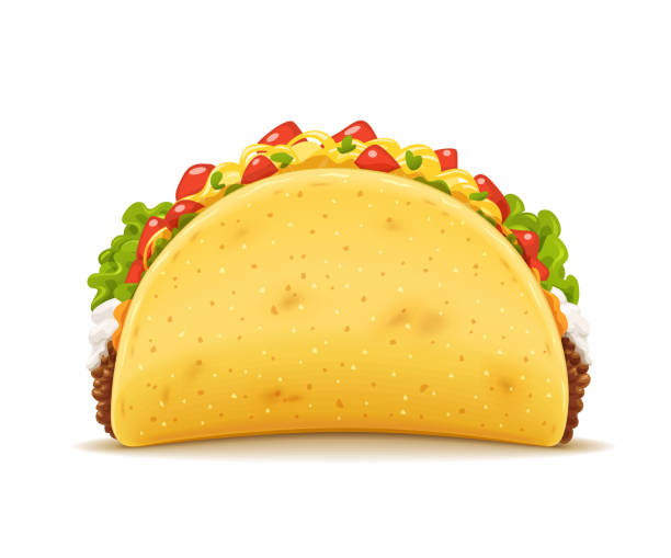 tacos with meat and vegetable. traditional mexican fast-food - taco stock illustrations, clip art, cartoons, & icons