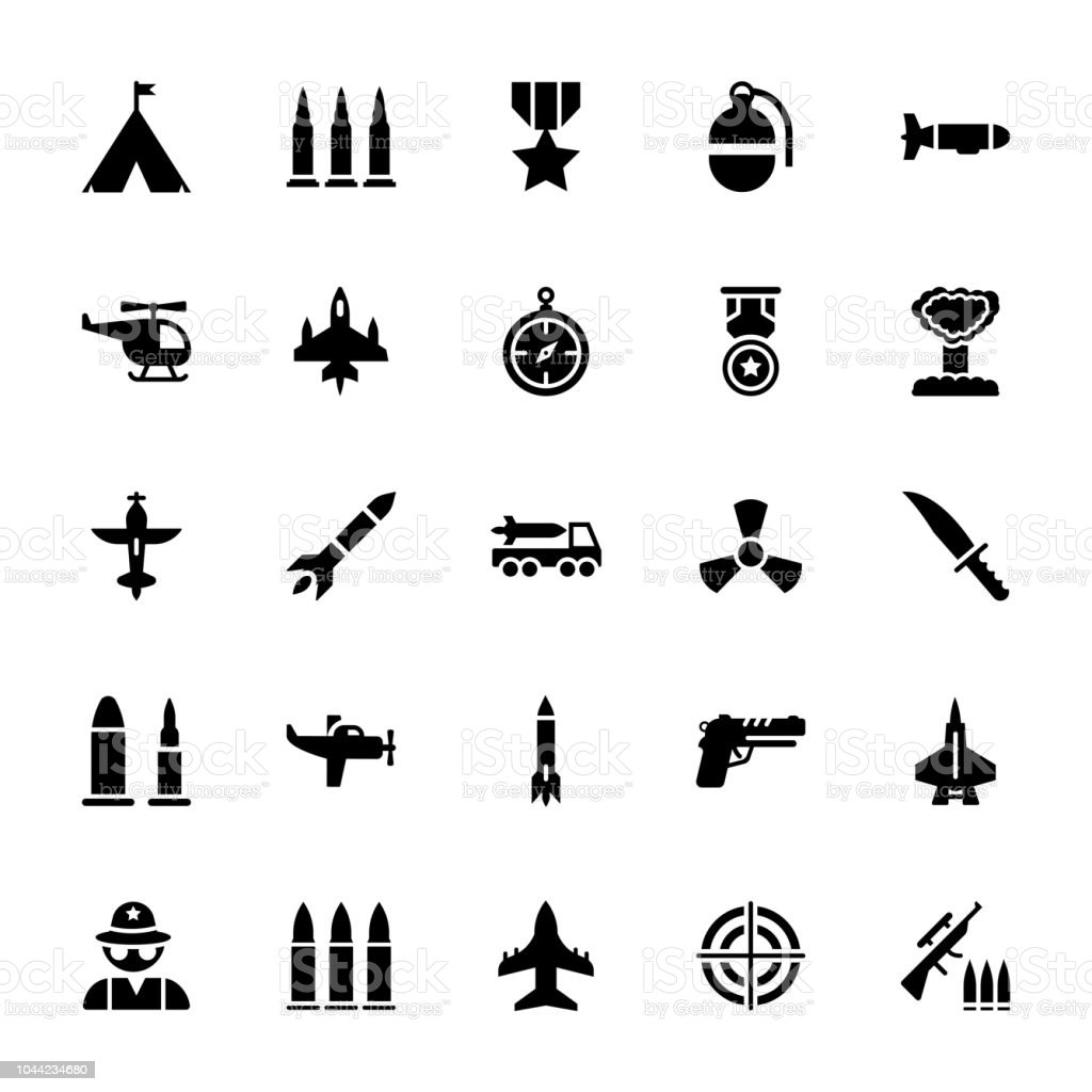Tactical Gears Icons Pack vector art illustration