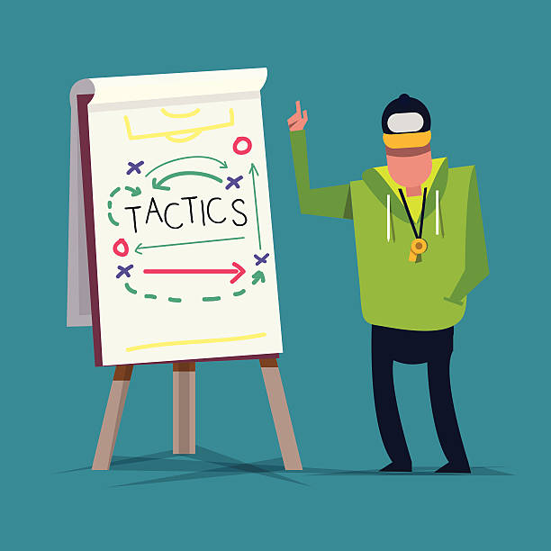 Tactical Training. sport. presentation - vector illustration Tactical Training with sport presentation. coach stock illustrations