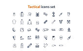 Tactical web icons set in flat style with equipment, clothing and recreative stuff.  Can be used in infographic, web or design