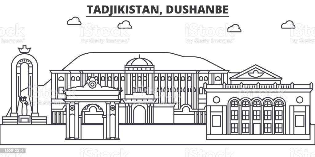 Tadjikistan, Dushanbe architecture line skyline illustration. Linear vector cityscape with famous landmarks, city sights, design icons. Landscape wtih editable strokes vector art illustration