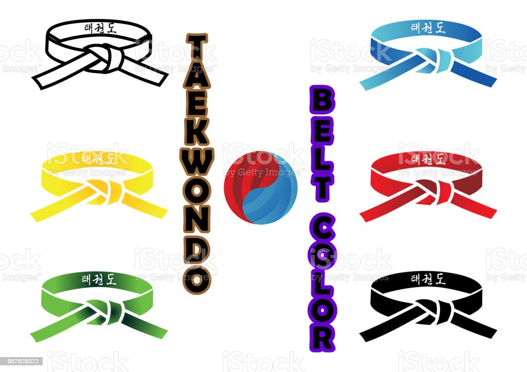 Taekwondo Belt Color. Translation : in every belt written taekwondo or kicks martial arts vector art illustration
