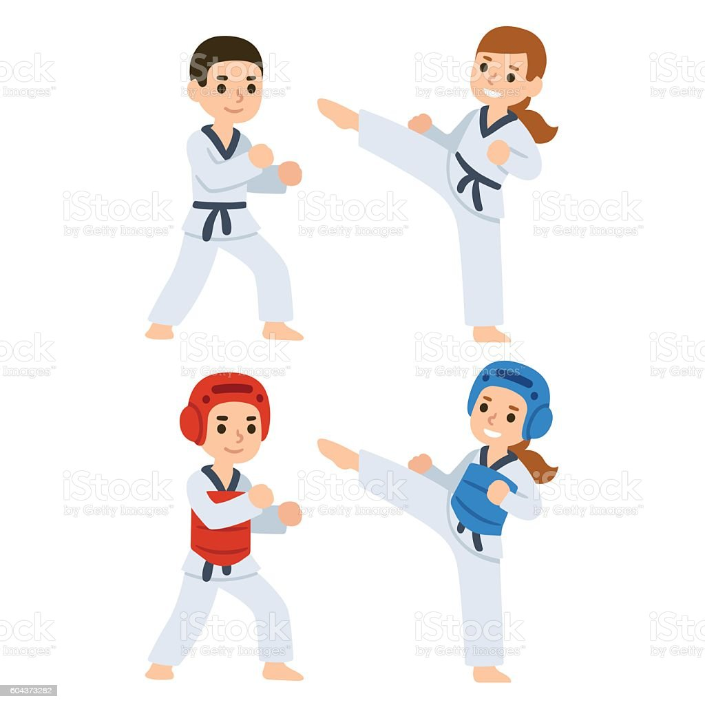 Boy and girl fighting in kimonos and taekwondo uniform. Martial arts...