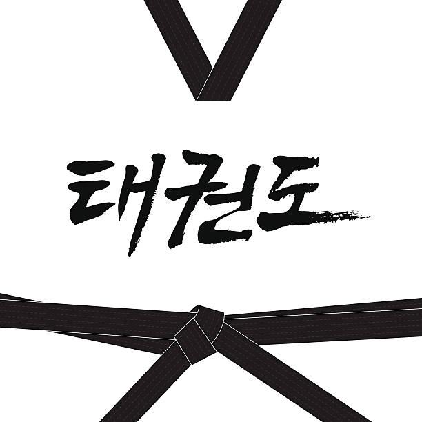 taekwondo handwritten letter in korean hangul - taekwondo stock illustrations, clip art, cartoons, & icons