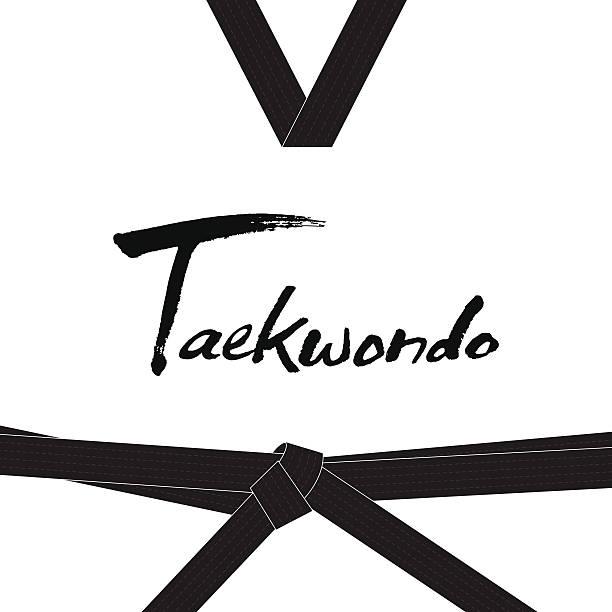 taekwondo handwritten letter - taekwondo stock illustrations, clip art, cartoons, & icons