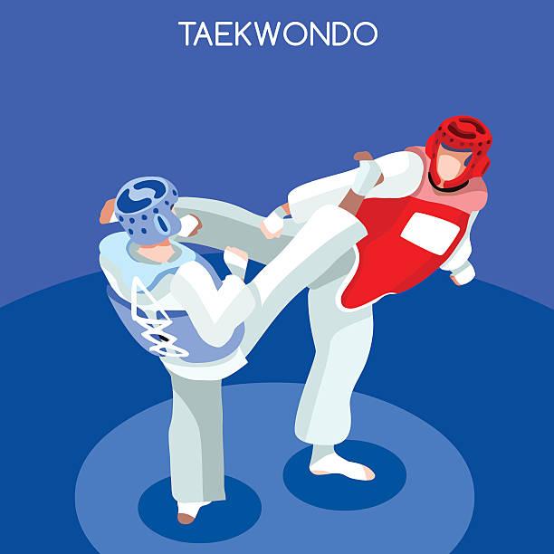 taekwondo martial art athlete isometric sporting championship international sport competition - taekwondo stock illustrations, clip art, cartoons, & icons