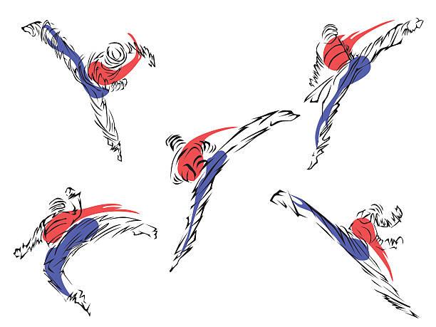 taekwondo. martial art - taekwondo stock illustrations, clip art, cartoons, & icons