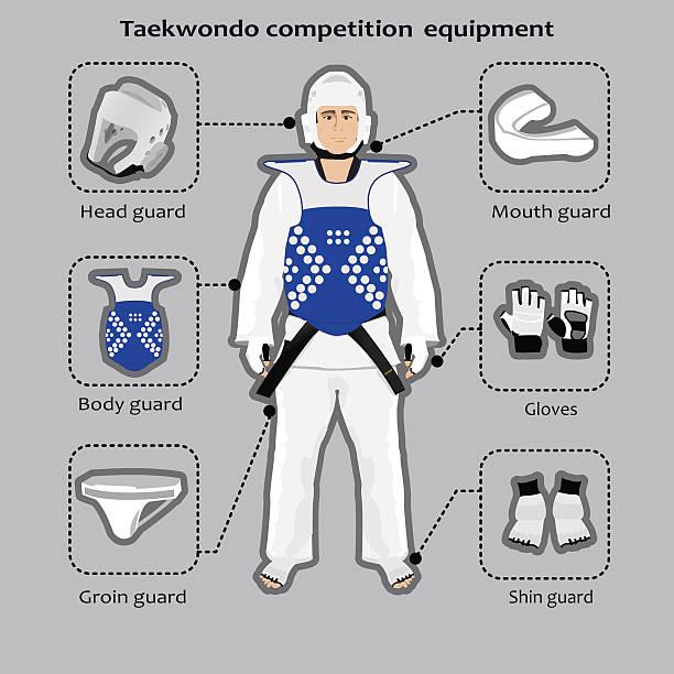 taekwondo sport competition equipment - taekwondo stock illustrations, clip art, cartoons, & icons