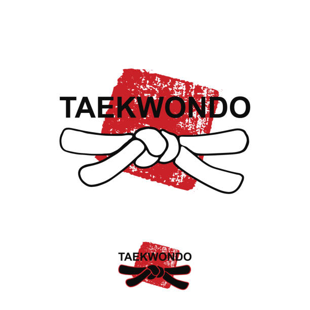 taekwondo - vector stylized font with black belt  knot of japanese budo martial arts on white background with red ink stamp - hanko. hand drawn asian sport calligraphy logo, icon, sign - taekwondo stock illustrations, clip art, cartoons, & icons