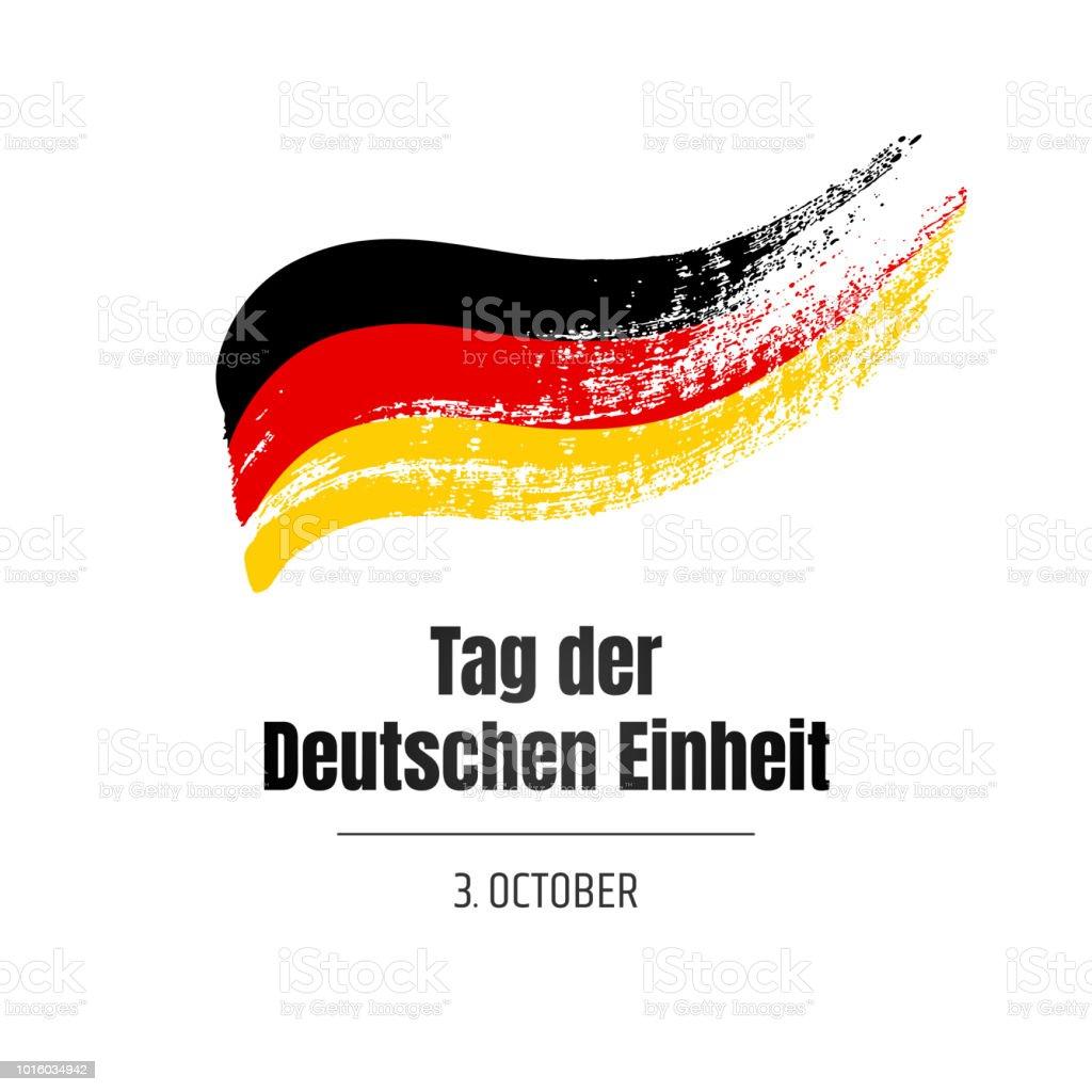 Tag der Deutschen Einheit. Banner para el día de la unidad alemana con bandera y texto sobre fondo blanco. Ilustración de dibujado a mano. - ilustración de arte vectorial