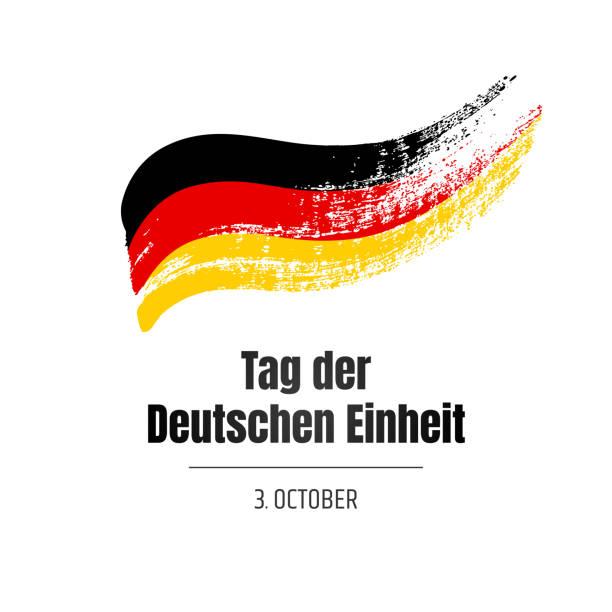 Tag der Deutschen Einheit. Bannière pour la journée de l'unité allemande avec drapeau et texte sur fond blanc. Illustration dessinée à la main. - Illustration vectorielle