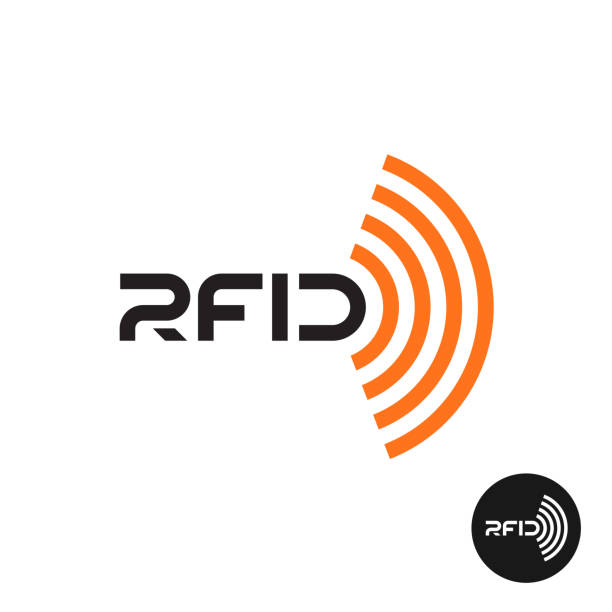 RFID tag icon. Text symbol with radio wireless waves. RFID tag icon. Text symbol with radio wireless waves. radio frequency identification stock illustrations