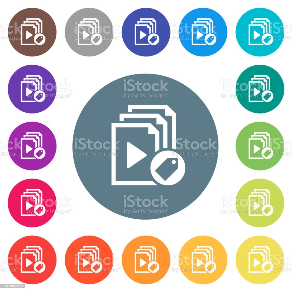 Tag playlist flat white icons on round color backgrounds vector art illustration