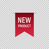 Tag ribbon New product red vector isolated design element. Banner sale tag. Product advertising. Label new icon. EPS 10