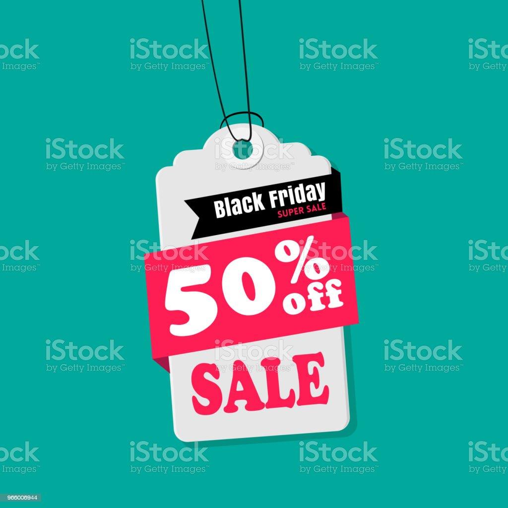 Tag försäljning svart fredag 50% rabatt på försäljning vektor bild - Royaltyfri Affär vektorgrafik