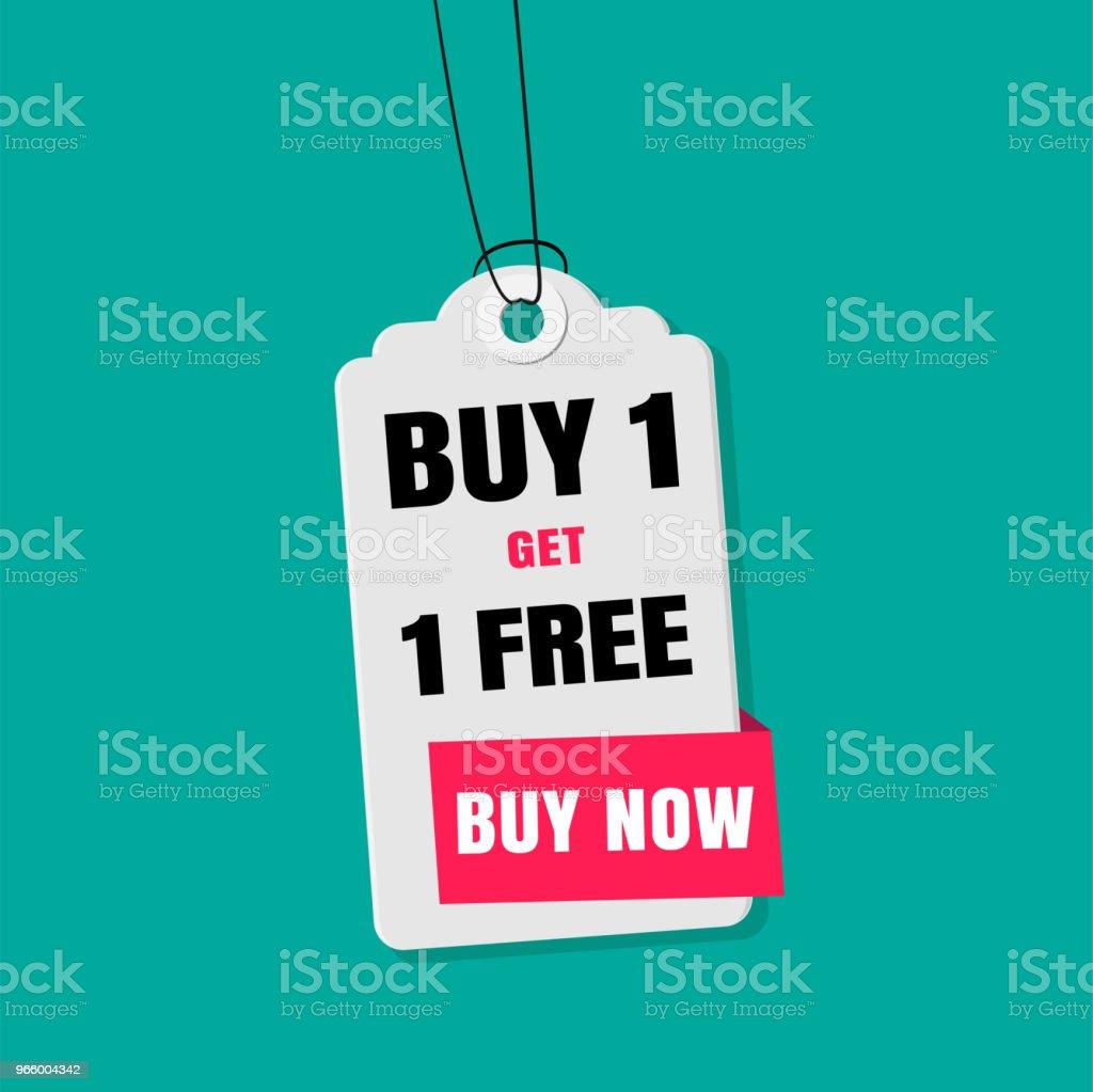 Label Sale Buy 1 Get 1 gratis kopen nu Vector Image - Royalty-free Advertentie vectorkunst